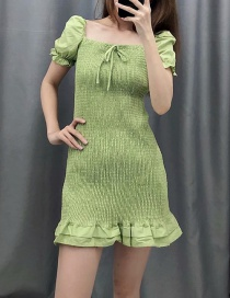 Fashion Green Stretch Pleated Ruffled Hem Dress