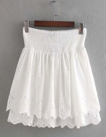 Fashion White Openwork Embroidered Skirt