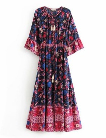 Fashion Dark Blue Phoenix Bird Print V-neck Mid-sleeve Dress