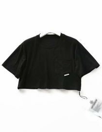 Fashion Black Pocket Short T-shirt