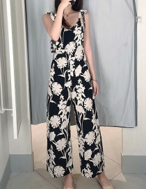 Fashion Black Flower Printed Halter Strap Sling Jumpsuit