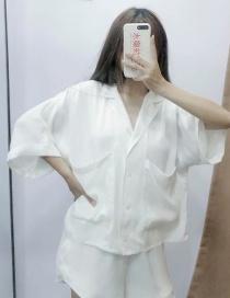 Fashion White Elastic Waist Shorts