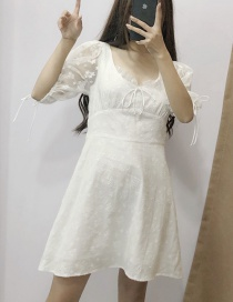 Fashion White Embroidered Lace Stitching Dress