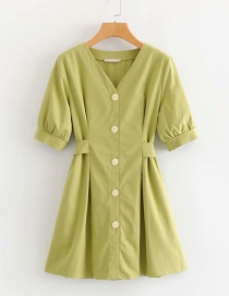 Fashion Avocado Green Buttoned Belt Single-breasted V-neck Dress