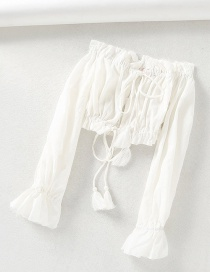 Fashion White Fringed Laced One-shoulder Drawstring Short Shirt