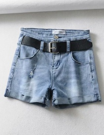 Fashion Blue Washed And Rolled Holes: Washed Denim Shorts