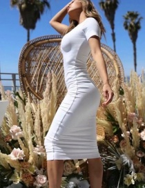 Fashion White Large V-neck Single-breasted Dress