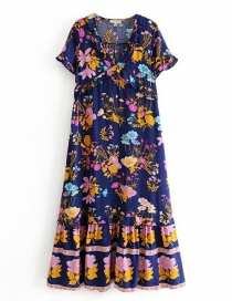 Fashion Dark Blue Printed Ruffled Dress