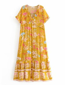 Fashion Yellow Printed V-neck Ruffled Dress