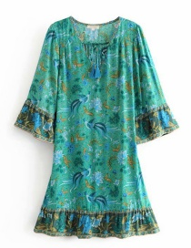 Fashion Green Phoenix Bird Print Sleeve V-neck Dress