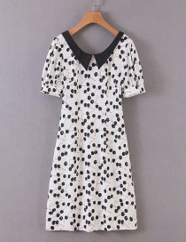 Fashion White Cherry Print Doll Collar Diamond Backless Dress
