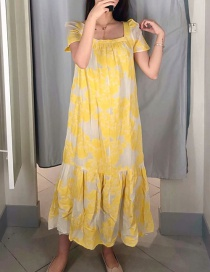 Fashion Yellow Floral Print Ruffled Hem Dress