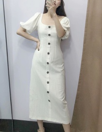 Fashion White Round Neck Puff Sleeve Single-breasted Dress
