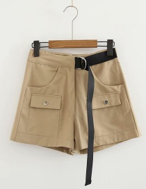 Fashion Khaki Double Pocket Tooling Stitching Shorts