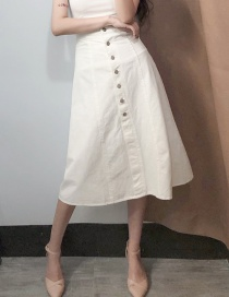 Fashion White High-waisted Cotton Front-length Dress