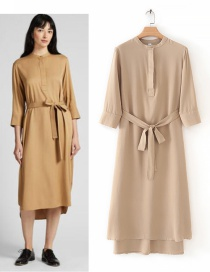 Fashion Khaki Solid Color Belt Dress
