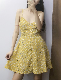 Fashion Yellow Floral Sling Dress