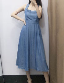 Fashion Blue Crossed Straps With Buckled Denim Dress At The Back