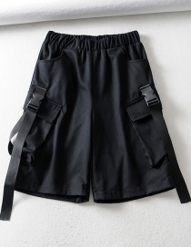 Fashion Black Five-point Tie Stitching Tooling Shorts