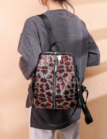 Fashion Red Leopard Waterproof Sequined Oxford Backpack