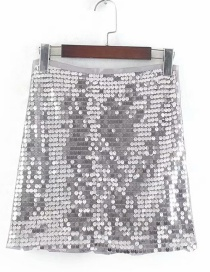 Fashion Silver Sequined Stitching Skirt