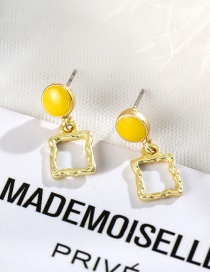 Fashion Square Yellow Geometric Round Color Stitching Stud Earrings