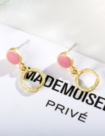 Fashion Round Pink Geometric Round Color Stitching Stud Earrings