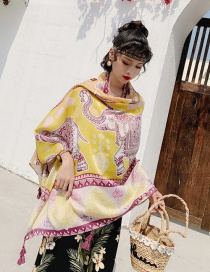Fashion Yellow Elephant Cotton And Linen Printed Scarves