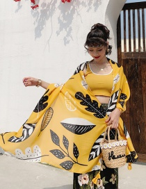 Fashion Yellow Leaves Cotton And Linen Printed Scarves