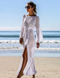 Fashion White Openwork Knit Blouse