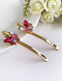 Fashion Rose Red Alloy Diamond Hairpin
