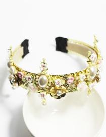 Fashion Gold Cross Porcelain Flower Headband
