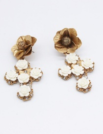 Fashion Gold Porcelain Flower Cross Geometry Crown Stud Earring