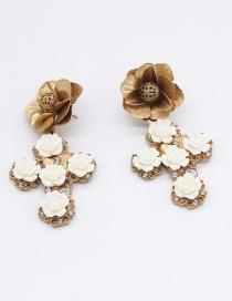 Fashion Gold Porcelain Flower Cross Geometry Crown Stud Earring