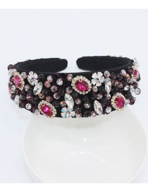 Fashion Purple Full Diamond Geometric Heart Bee Headband