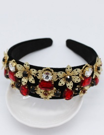 Fashion Black Bow-studded Large Flower Pearl Gemstone Geometric Headband