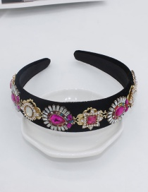 Fashion Black Full Diamond Gemstone Geometric Flower Hair Band