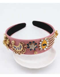 Fashion Pink Eye Fringed Metal Flower Headband