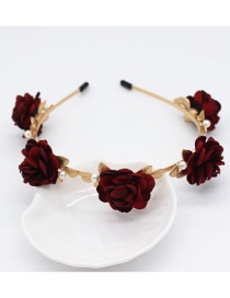 Fashion A Red Rose Pearl Headband