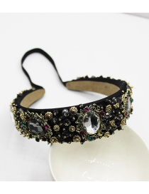 Fashion Round Diamond Black And White Gemstone Headband