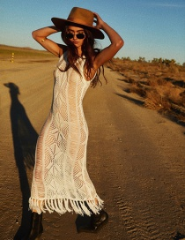 Fashion White Knitted Fringed Openwork Blouse