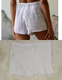 Fashion White Cotton Sliver Shorts