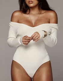 Fashion White V-neck Pitted Jumpsuit