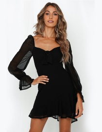 Fashion Black Flared Sleeve Tube Top Chiffon Dress