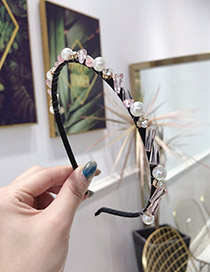 Fashion Pink Crystal Drill Winding Woven Fine Side Headband