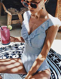 Fashion Blue Bar Striped One-piece Swimsuit