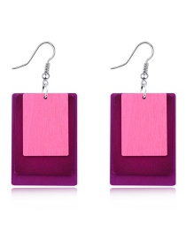 Fashion Rose Red Square Multi-layer Hollow Wood Earrings