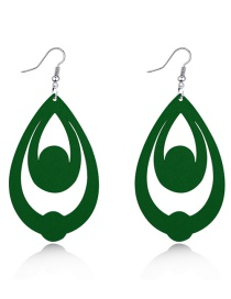 Fashion Green Multi-layer Hollow Wood Earrings With Water Drops
