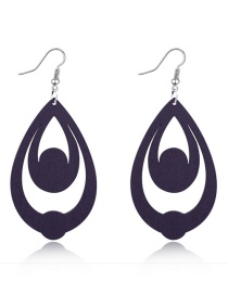 Fashion Gray Multi-layer Hollow Wood Earrings With Water Drops