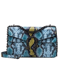 Fashion Blue Pu Alloy Snake Shoulder Bag